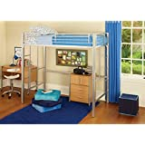 Your Zone Metal Loft Twin Bed, Silver