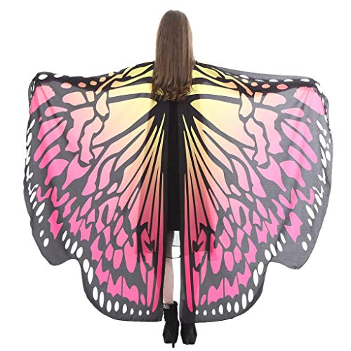 - iDWZA Women Butterfly Wings Shawl Scarves Pixie Party Cosplay Costume Accessory(168135cm,Hot Pink F)