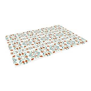 "Kess InHouse Miranda Mol ""Italian Kitchen Orange Green"" Indoor/Outdoor Floor Mat, 4-Feet by 5-Feet"
