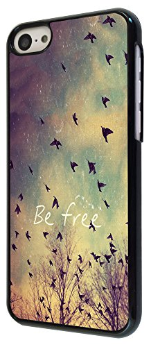 555 - Cool Be Free Birds Sky and Clouds Cute Natural Look Design iphone 5C Coque Fashion Trend Case Coque Protection Cover plastique et métal - Noir
