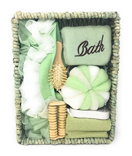 (Deluxe Bath Spa Gift Set for Women – Pastel Green 7 Piece Gift Basket – Great Wedding, Birthday, Shower, Christmas, Mother's Day, Easter or Anniversary Gift)