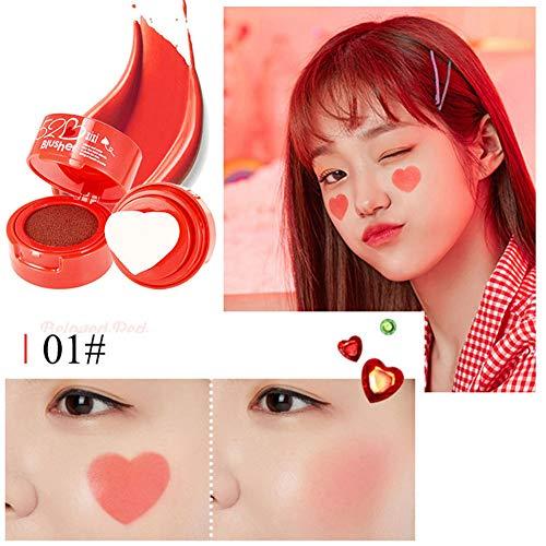 Angmile Heart Shape Air Cushion Blush Powder Makeup Moisturizing Shining Face Blush Palette Highlighter Powder