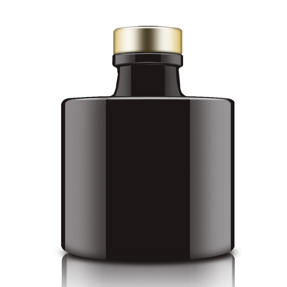 Feel Fragrance  Black Glass Diffuser Bottles Round Diffuser Jars with Gold Caps Set of 4 - 2.95 inches High, 100ml 3.4ounce. Fragrance Accessories Use for DIY Replacement Reed Diffuser Sets. by Feel Fragrance  (Image #3)