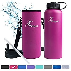 Stainless Steel Vacuum Insulated 40/32 OZ Sports Water Bottle|Best Water Bottle for Men&Women|BUY ONE GET THREE FREE GIFTS-A Straw Lid& A Bottle Pouch & A Bottle Brush-Pink 40