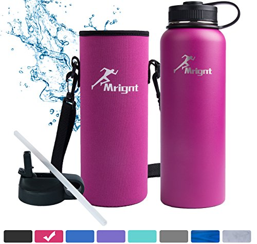 Stainless Steel Vacuum Insulated 40 32 Oz Sports Water Bottle Best Water Bottle For Men Women Buy One Get Three Free Gifts A Straw Lid  A Bottle Pouch   A Bottle Brush Pink 32