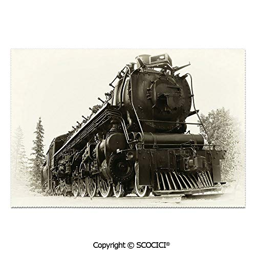 SCOCICI Place Mats Set of 6 Personalized Printed Non-Slip Table Mats Antique Northern Express Train Canada Railways Photo Freight Machine Print for Dining Room Kitchen Table Decor]()