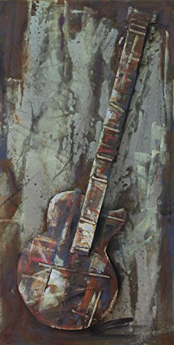 Empire Art Direct ''Electric Guitar'' Mixed Media Hand Painted Iron Wall Sculpture by Primo by Empire Art Direct