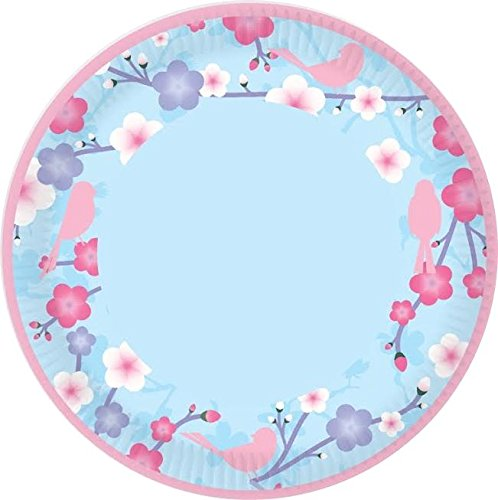8 Shabby Chic Flower Floral Bird Party Paper Plates 9'' Disposable Food Tableware Celebration Dish Event Wedding Birthday Spring Hen Concept4u
