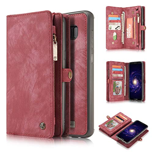 Yaheeda Galaxy Note 8 Case, Handmade Premium Cowhide Leather Wallet Case,Zipper Wallet Case with Stylus [Magnetic Closure] Detachable Magnetic Case & Card Slots for Samsung Galaxy Note 8