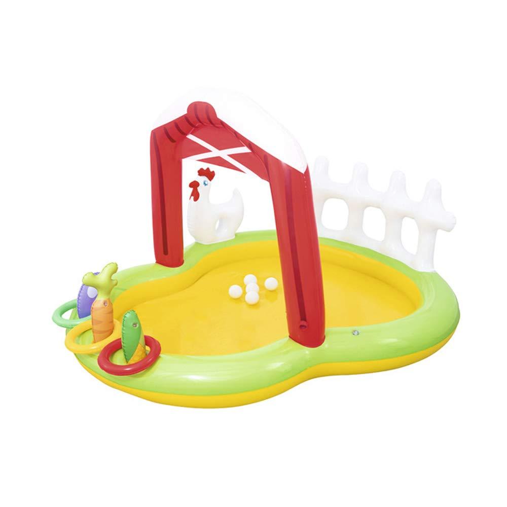 ZDYG Kinderpool , Wasserspielcenter, Deluxe Family Großes aufblasbares Planschbecken für Outdoor-Sommer-Fun-175x147x102cm