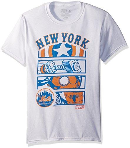 Marvel Men's New York Mets Superhero Panel Graphic Tee, White, Large