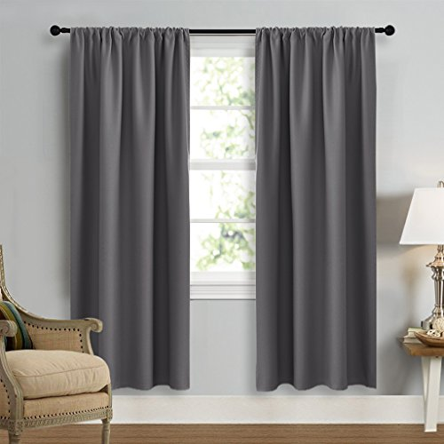Blackout Curtains 72 for Bedroom - NICETOWN Three Pass Microfiber Noise Reducing Thermal Insulated Solid Rod Pocket Blackout Window Panels / Drapes (Two Panels,42 x 72 Inch,Gray) (Rod Pocket Panel Set)
