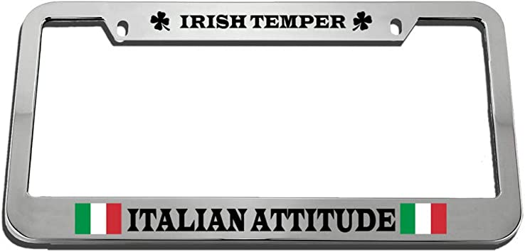 Black 2 Holes Speedy Pros Ireland Flag Irish Country Zinc Metal License Plate Frame Car Auto Tag Holder
