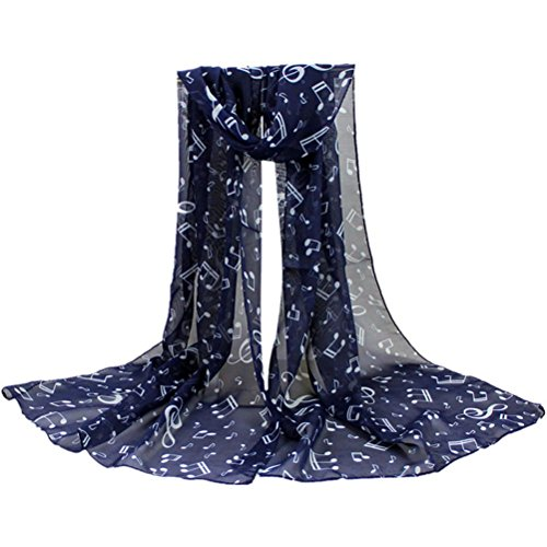 Shawls Fashion Scarves (Scarves,Han Shi Stylish Musical Note Long Chiffon Scarf Soft Shawl Muffler Stole for Women (L, Navy))