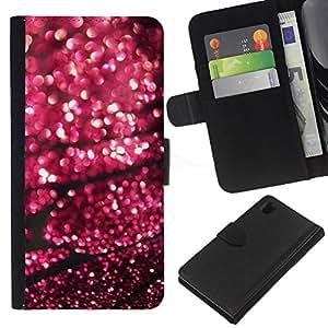 iBinBang / Flip Funda de Cuero Case Cover - Lluvia Calle Luces borrosas púrpura - Sony Xperia Z1 L39H