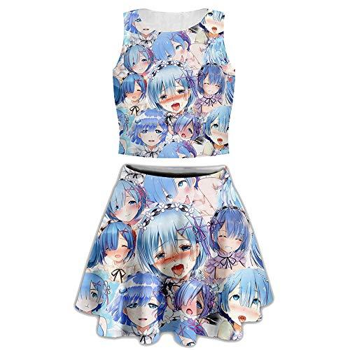 (YX GIRLWomen's Ahegao Sexy 2 Piece Skirt Set Split Dresses Mini Dress (TZ-ahegao-Blue, S/M))
