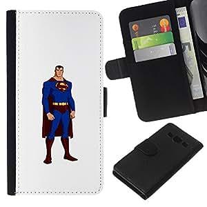 A-type (Superhero Flying hombre fuerte Cartoon Comics) Colorida Impresión Funda Cuero Monedero Caja Bolsa Cubierta Caja Piel Card Slots Para Samsung Galaxy A3