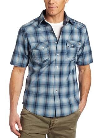 Dickies Men's Short Sleeve Fashion Western Plaid Shirt, Dark Navy, Medium