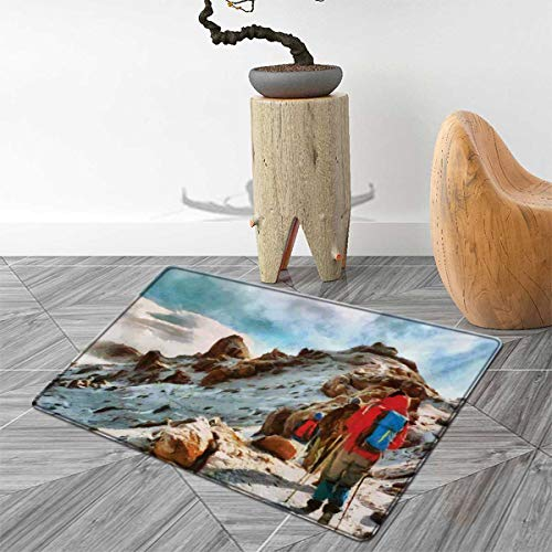 Mountain Door Mat Outside Group of Trekkers Hiking Among Snows of Kilimanjaro in Winter in Painting Style Bathroom Mat for tub Non Slip 3'x4' Multicolor