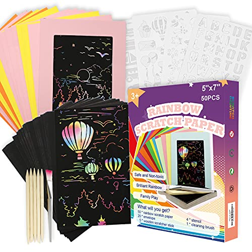Cupohus Rainbow Scratch Art 80 Piece Set for Kids, 50 Sheets 5'' x 7'' Magic Scratch Off Paper with 20 Sheets Envelopes, 4 Stencils, 5 Scratcher Sticks, and 1 Cleaning Brush.