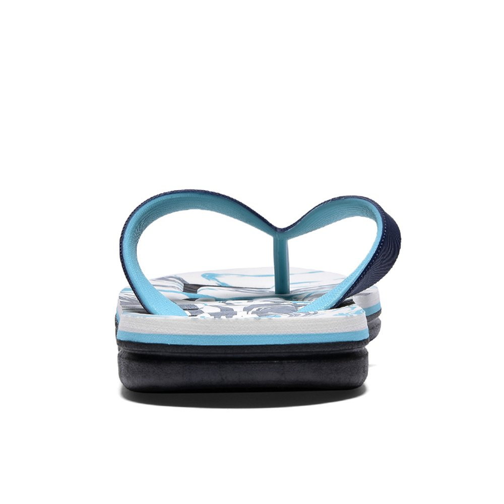 Herren Flip-Flops Casual mit Rutschfestem Soft Bottom Stilvolle Blau Printed Beach Sandales,für Männer Blau Stilvolle 63c2c9