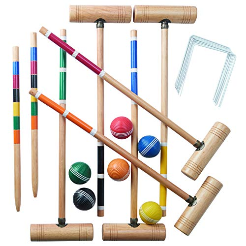 - Franklin Sports Croquet Set - Up to 6 Players - Professional Quality Croquet Set for Lawn Games - Complete Croquet Set with Carrying Case - Includes Wooden Mallets, Durable Balls, Weatherproof Wickets