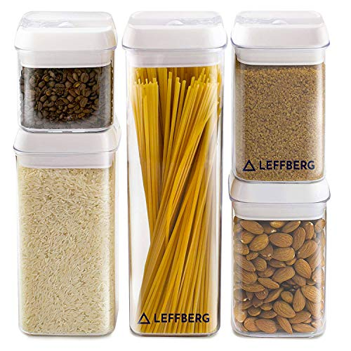 LEFFBERG - Airtight Storage Containers Set of 5 - Best Kitchen Dry Food Containers with Lids - Clear Plastic Food Storage Containers - Cereal Storage Containers- Airtight Canister - Tubberware Set. -