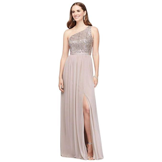David S Bridal Sequin And Mesh One Shoulder Bridesmaid Dress
