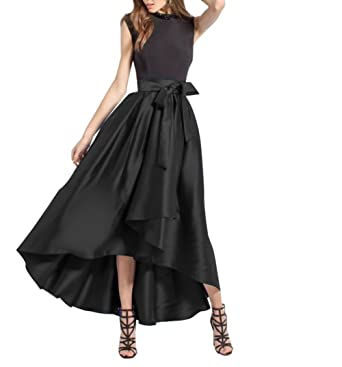cee927f07f CoutureBridal Womens High Low Long Skirt Pleated High Waist Prom Party with  Pockets Bow Black