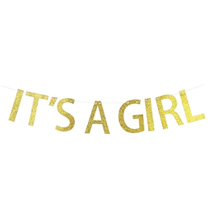 amazon com webenison gold glitter it s a girl banner bunting