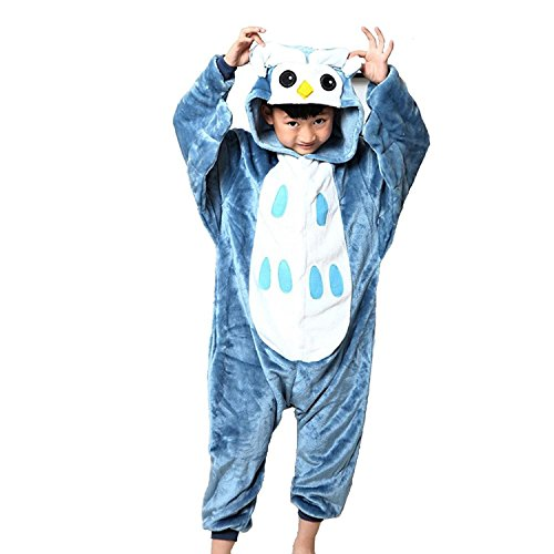 ABING Halloween Pajamas Homewear OnePiece Onesie Cosplay Costumes Kigurumi Animal Outfit Loungewear,Owl Chidren Size 115 -for