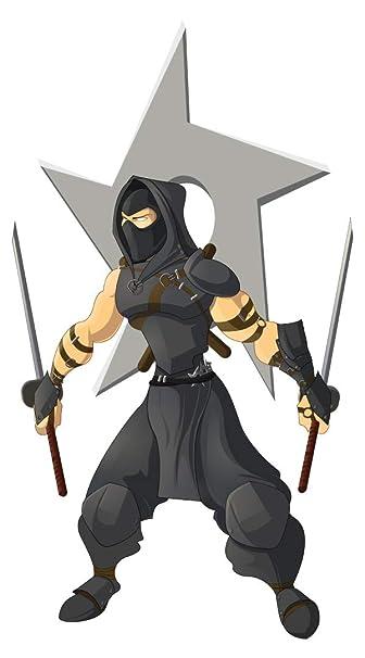 dekodino® Pegatina de pared asia luchador ninja con espadas ...
