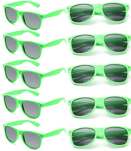 Wholesale Unisex 80'S Retro Neon Party Favor Sunglasses Bulk for Adults 10 Pack (Green) ()