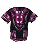 Lofbaz Traditional African Print Unisex Dashiki Size XXL Black and Pink