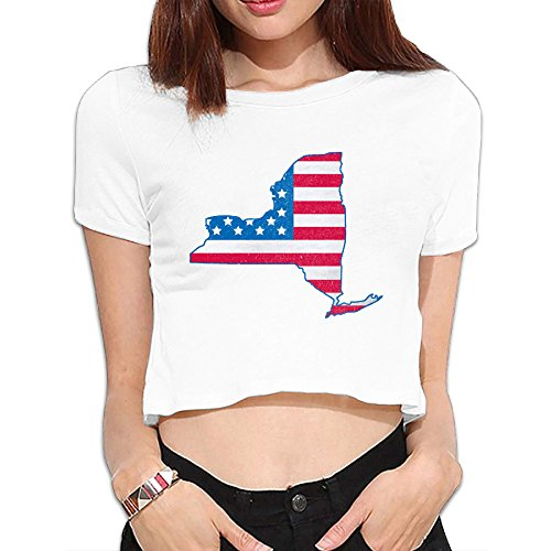 New York American Flag Women's Cotton Crop Tops T Shirts
