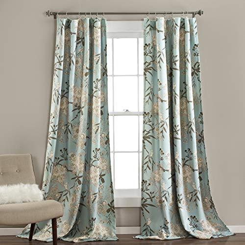 (Lush Decor Botanical Garden Curtains Floral Bird Print Room Darkening Window Panel Drapes Set for Living, Dining, Bedroom (Pair), 84