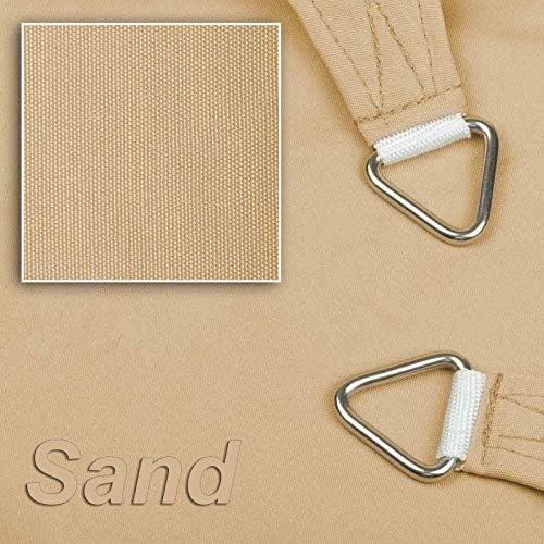 hanSe® Marken Sonnensegel Sonnenschutz Wetterschutz Wetterbeständig 100% Polyester wasserabweisend Quadrat 2x2 m Sand
