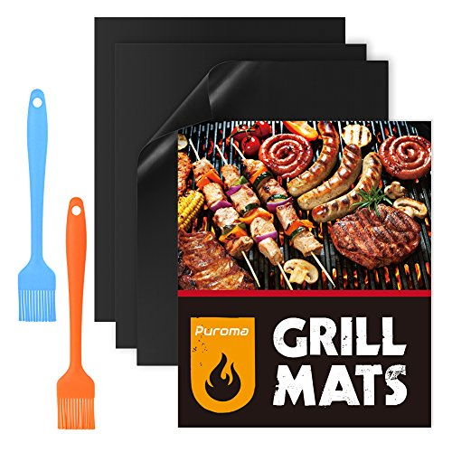 puroma-3-set-bbq-grill-mats-with-2-pack-silicone-basting-pastry-brushes-non-stick-grilling-mats-reus