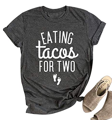 Eating Tacos for Two Maternity T-Shirt Women's Funny Letter Print Short Sleeve Pregnancy Announcement Tees Tops (M, Grey) -