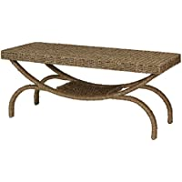 Household Essentials Seagrass Wicker Arch-Leg Rustic Coffee Table, Natural Brown