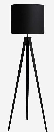 Camino a casa | Lámpara de pie go negro - Estructura en hierro y tulipa en tela telyrene y algodón. pintura | Negro: Amazon.es: Iluminación