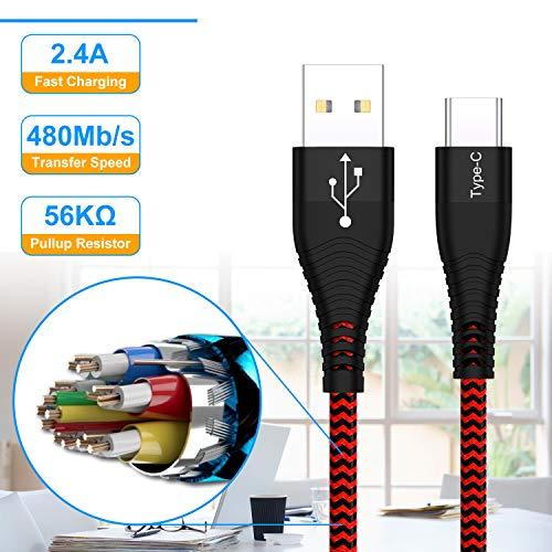 Cable USB Tipo C [4Pack, 30CM], Cable Cargador Tipo C Corto Carga Rápida y Sincronización, Nailon Cable USB C a USB 3.0, Compatible con Samsung Galaxy S10/ S9/ S8 Plus/Huawei P30/ P20/ MacBook, etc
