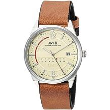 AVI-8 Men's 'HAWKER HURRICANE' Quartz Stainless Steel and Leather Casual Watch, Color:Brown (Model: AV-4044-08)