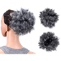 SWACC Afro Puff Drawstring Ponytail Kinky Curly Afro Clip on Updo Chignon Bun Hair Piece Extensions for African American Women Medium Size (Gray)