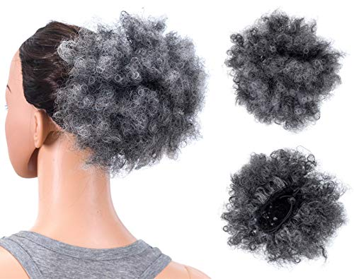 SWACC Afro Puff Drawstring Ponytail Kinky Curly Afro Clip on Updo Chignon Bun Hair Piece Extensions for African American Women Medium Size (Gray) ()