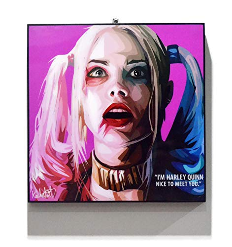 Pop Art Movie Quotes [Harley Quinn - Suicide Squad] Framed Acrylic Canvas Poster Prints Artwork Modern Wall Decor, 10