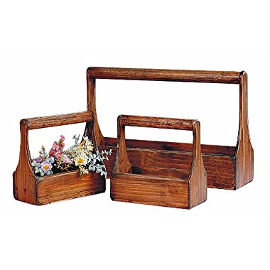 Creative Co-Op Decorative Wood Planter Basket Set
