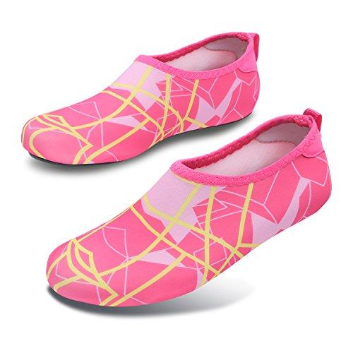 L-RUN Unisex Wasser Schuhe Barfuß Haut Schuhe für Dive Surf Swim Beach Yoga Line_pink