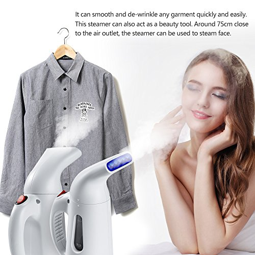 Easehold Travel Garment Steamer Handheld Portable Mini Fabric Steamer 60-second Heat-Up 8 Minutes of Steam 140ml Waterless Auto off Detachable Body White