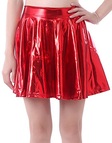 HDE Women's Solid Color Metallic Flared Pleated Club Skater Skirt (Red, Small) (Disco Themed Clothes)